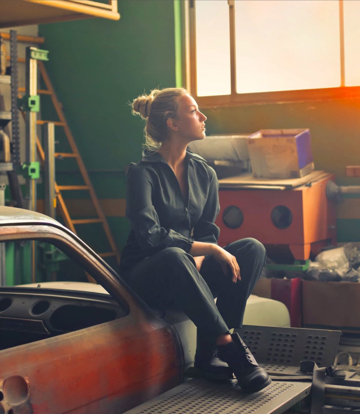 an woman in a garage